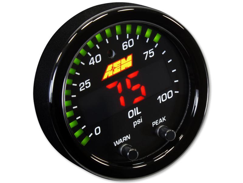 เกจวัดแรงดันน้ำมัน AEM X-Series 100 PSI/7BAR Oil/Fuel Pressure Gauge (30-0301)